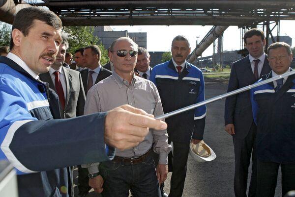 Премьер-министр РФ Владимир Путин посетил ОАО Челябинский металлургический комбинат