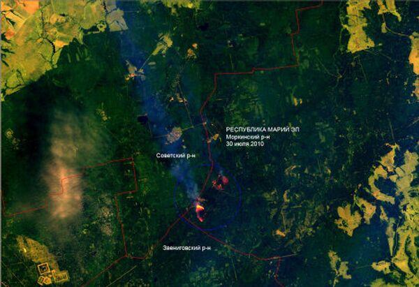 Лесные пожары в республике Марий Эл. Вид из космоса