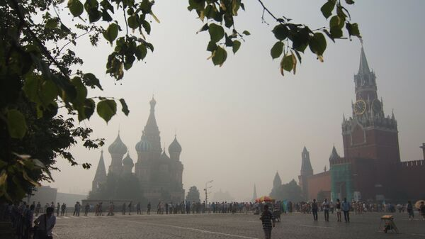 Вид на Красную площадь, окутанную пеленой дыма. Архив