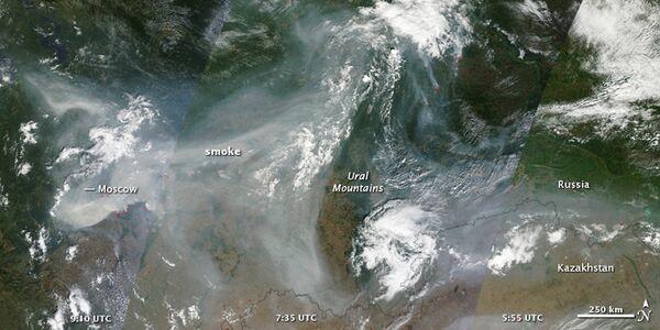 Дым от пожаров над территорией РФ