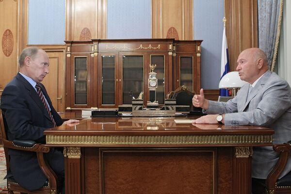 Премьер-министр РФ Владимир Путин провел рабочую встречу с мэром Москвы Юрием Лужковым
