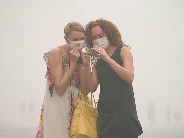 Люди в масках в Москве. Архив