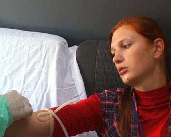 Молодежь сдает кровь для пострадавших при взрыве в Пятигорске