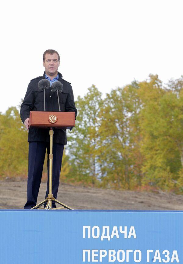 Д.Медведев на церемонии пуска в эксплуатацию газопровода Соболево-Петропавловск-Камчатский