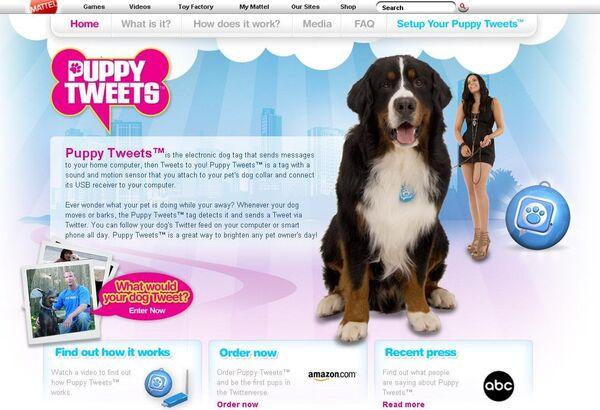 Сайт устройства для собак Puppy Tweets