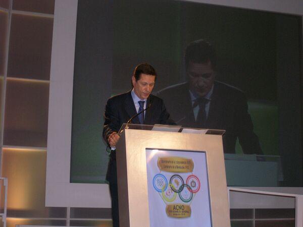 Александр Жуков выступает на заседании Всемирной олимпийской конвенции Ассоциации национальных олимпийских комитетов в Акапулько