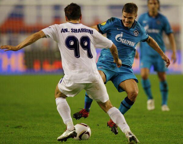 Игровой момент матча Зенит - Хайдук в 1/8 финала Лиги Европы