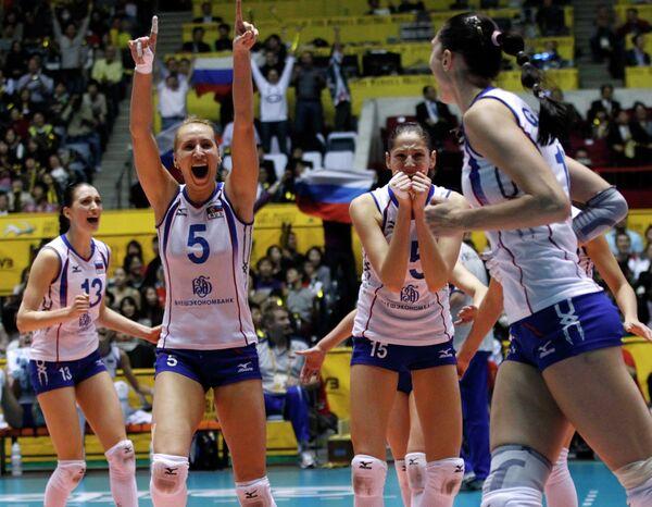 Волейболистки сборной России празднуют победу в чемпионате мира
