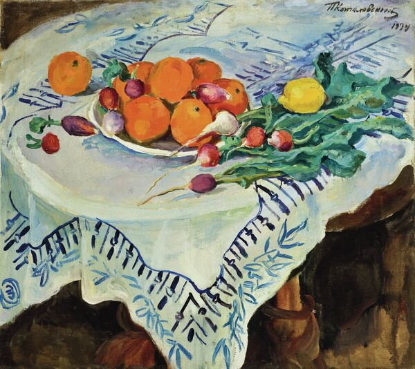Петр Кончаловский. Натюрморт. Апельсины и редиска. Кисловодск. 1934 год.