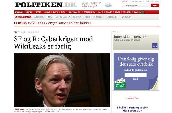 Сайт немецкой газеты Politiken