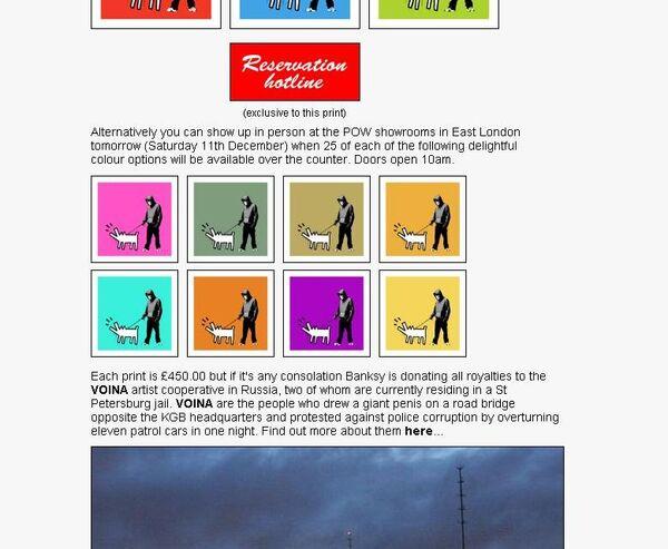 Фрагмент скриншота сайта www.picturesonwalls.com с изображением принтов Бэнкси в поддержку участников арт-группы Война