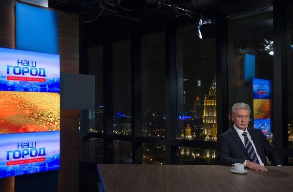 Мэр Москвы Сергей Собянин в прямом эфире телеканала ТВ Центр