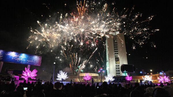 Новогодний фейерверк во Владивостоке. Архивное фото
