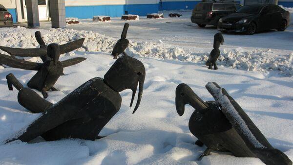 Выставка современного искусства в школе Москвы. Николай Полисский. Грачи прилетели
