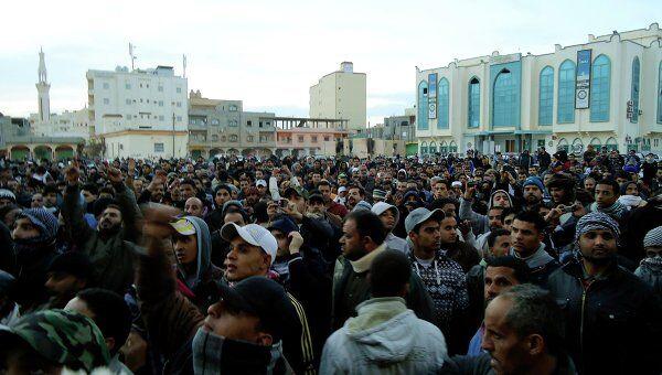 Беспорядки в портовом городе Тобрук в Ливии 20 февраля 2011