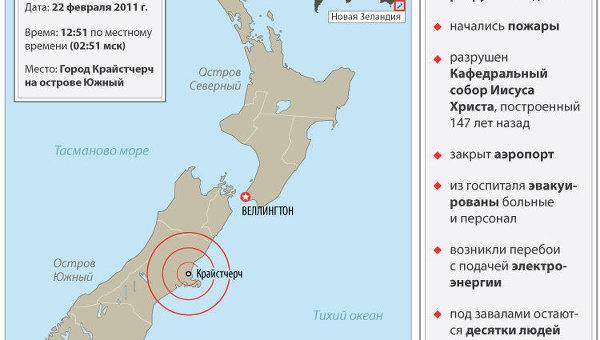 Землетрясение на юге Новой Зеландии
