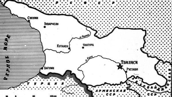 Карта Грузинской ССР