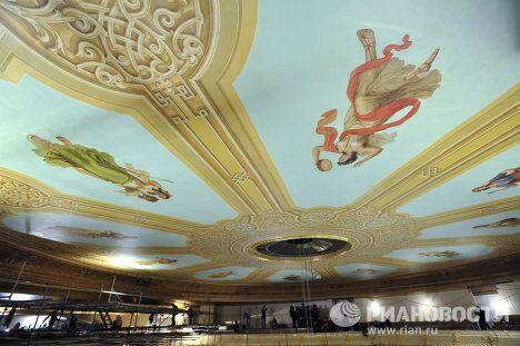 Завершение реставрации потолка в зрительном зале Большого театра