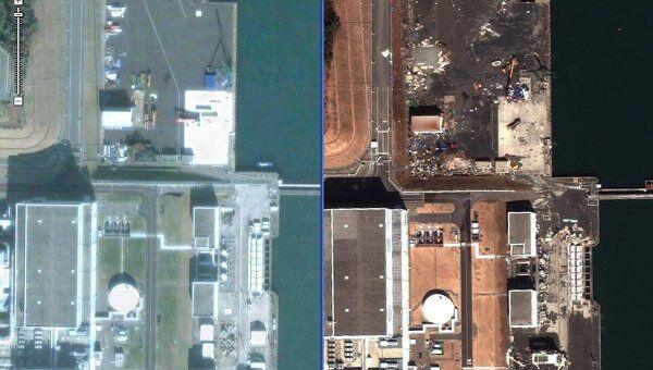 Спутниковая съемка последствий землетрясения на АЭС Фукусима-2. Архивное фото