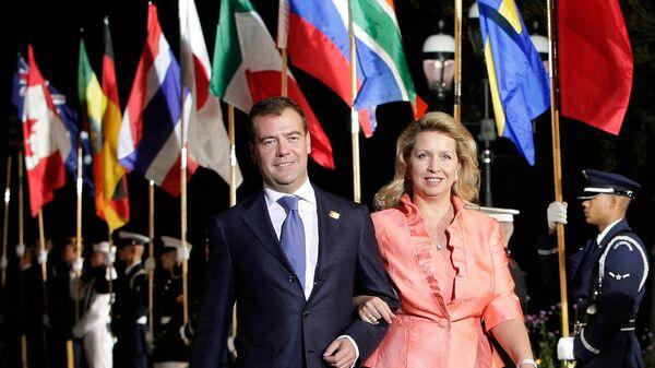 Президент РФ Дмитрий Медведев с супругой Светланой