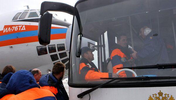 Встреча спасателей МЧС России, прибывших из Японии, на аэродроме Раменское
