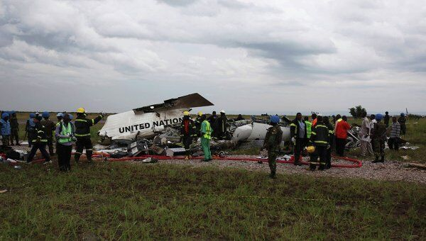На месте крушения самолета ООН в Конго