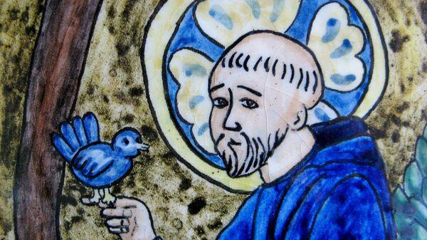 Святой Франциск Ассизский. Витраж из монастыря Святого Креста (Нью-Йорк)