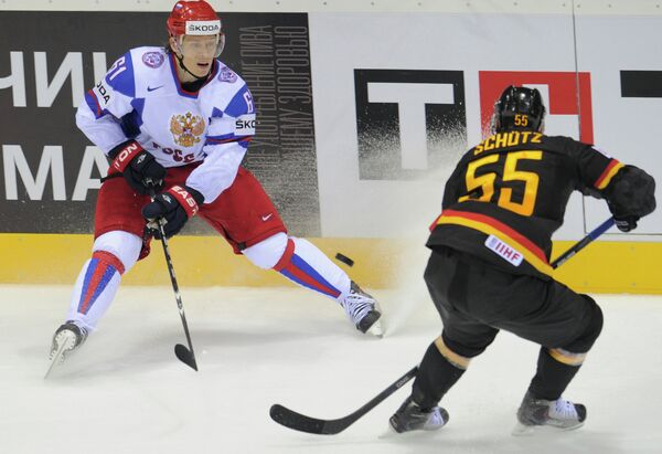 Игровой момент матча Германия - Россия
