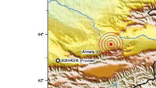 Эпицентр землетрясения в Казахстане