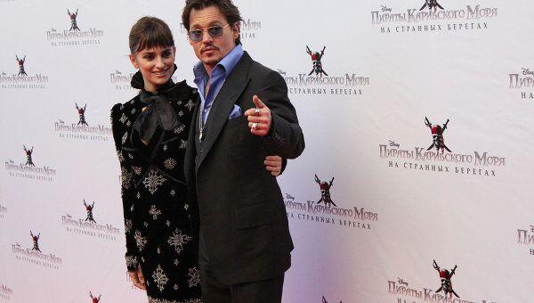 Пенелопа Крус и Джонни Депп на премьере фильма Пираты Карибского моря в Москве