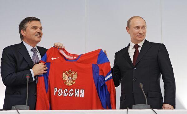 Рене Фазель и Владимир Путин (слева направо)