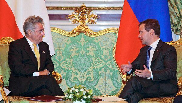 Президент РФ Д.Медведев встретился с президентом Австрии Х.Фишером