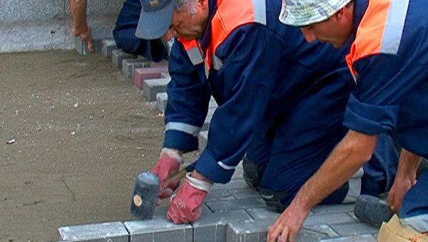 В центре Москвы непрезентабельный асфальт меняют на тротуарную плитку