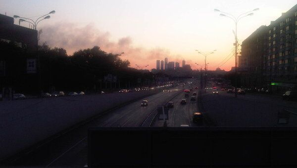Пожар в Москве на улице Мневники