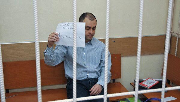 Спамер Леонид Куваев, обвиняемый в педофилии, в Савеловском суде Москвы во время судебного процесса.