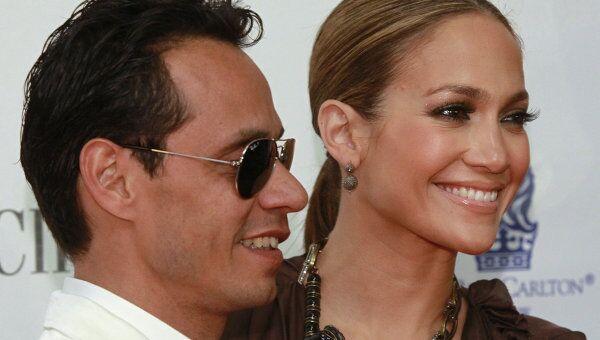 Дженнифер Лопес с мужем Марком Энтони
