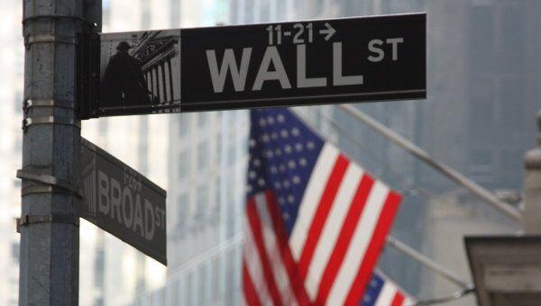Указатель на Wall Street в Нью-Йорке