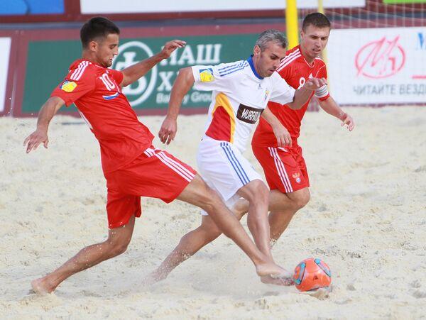 Игровой момент матча Россия - Румыния