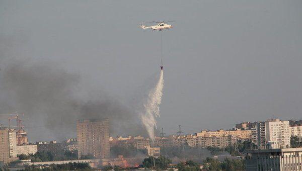 Тушение пожара на юге Москвы