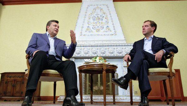 Президенты РФ и Украины Д.Медведев и В.Янукович в Завидово