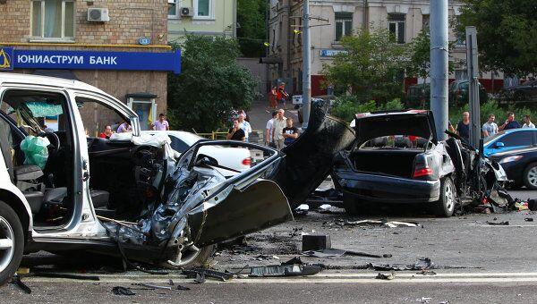 Крупное ДТП на Садово-Сухаревской улице Москвы