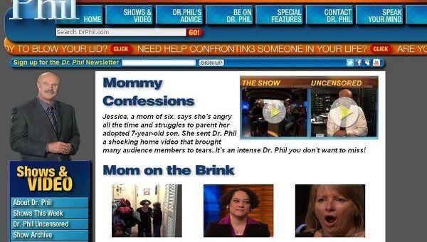 Скриншот сайта телешоу Dr Phil, в котором была показана видеозапись издевательств над российским ребенком в США