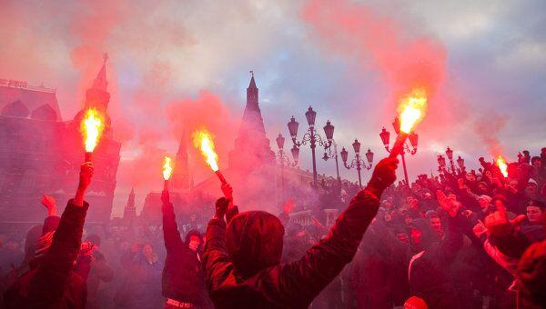 Акция на Манежной площади в память об убитом Егоре Свиридове. Архив