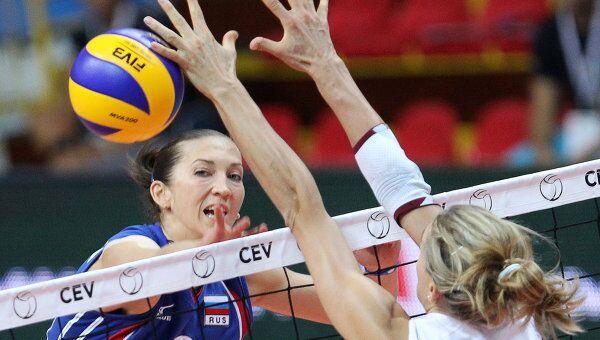 Игровой момент матча Россия - Нидерланды