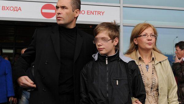 Прилет Ирины Бергсет с сыном Сашей в Москву