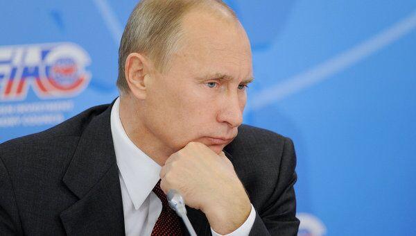 Премьер-министр РФ Владимир Путин на пленарном заседании Консультативного совета по иностранным инвестициям.