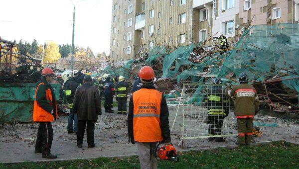Последствия падения строительных лесов в Зеленограде