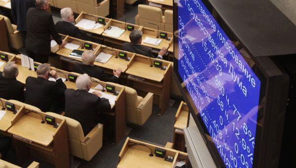 Экран с результатами голосования по законопроекту в первом чтении