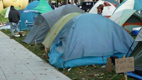 Акция Захвати Вашингтон, проходящая в американской столице в рамках мировой акции Захвати Уолл-Стрит