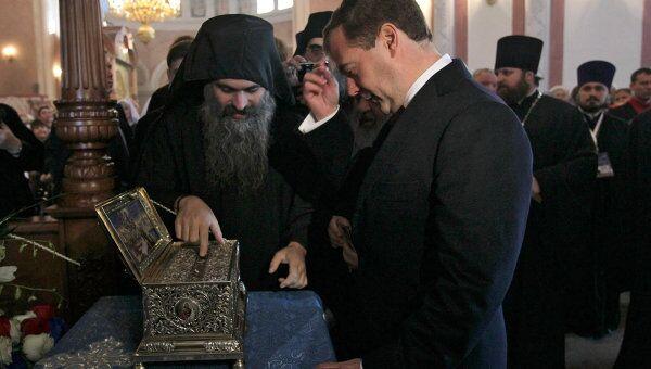 Президент РФ Д.Медведев побывал в храме Александра Невского